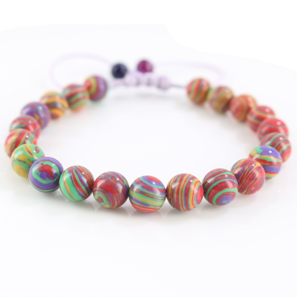 Fashion Rainbow Stones Beads Purple Rope Braided Stretch Wrap Bracelets for Womens Bohemia Style Jewelry