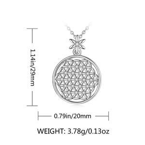 Image 4 - EUDORA 925 スターリングシルバーフラワー · オブ · ライフネックレス神聖な円ビッグラウンドスターリングシルバーペンダント幾何ネックレス CYD419