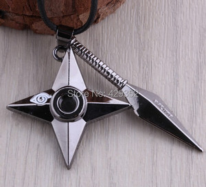 Image 3 - Anime bijoux Naruto Shuriken collier Vintage pendentif collier pour femmes et hommes 10 pièces/lot