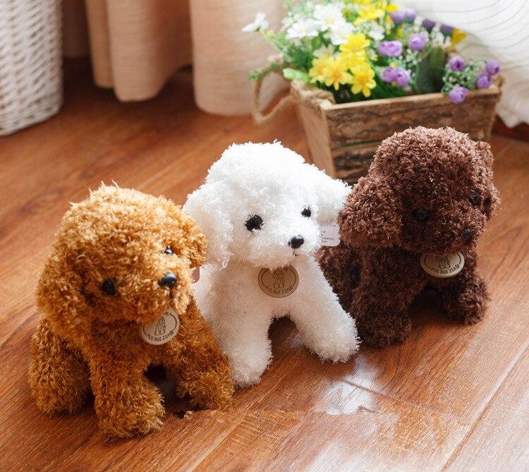 Frete grátis simulação cão de Pelúcia senhora, poodle brinquedos de pelúcia, animal suffed boneca para presente de Natal