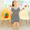 2016 new lace hook flower short sleeve maternity dress wide stripe big  long section of pregnant women dress maternity clothes