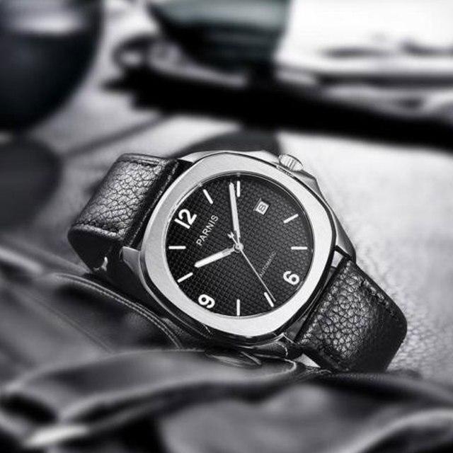 NEW Arrive 40mm PARNIS Black Dial Date Indicator Steel Case Luminous Miyota Sapphire Luxury Brand Automatic Movement men's Watch