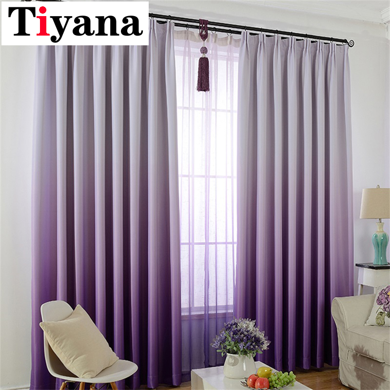 Tiyana Purple Gradient Blackout Curtains for Living Room