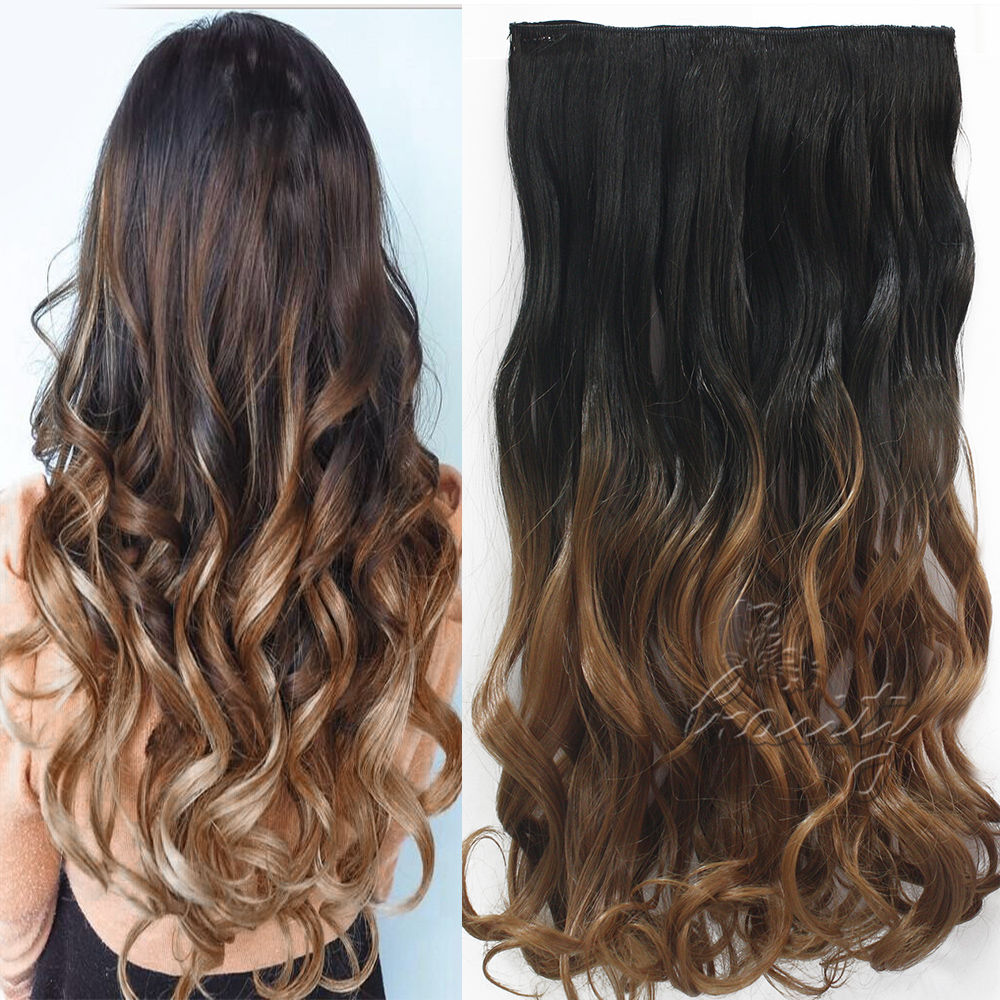 Women Fashion 24inch 60cm One Piece Clip In Hair Extention Ombre