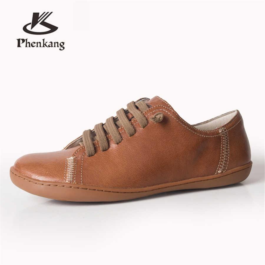 Zapatos de verano planos de mujer de cuero genuino zapatos casuales descalzos zapatos planos de mujer Zapatillas de deporte calzado femenino zapatos de primavera 2019