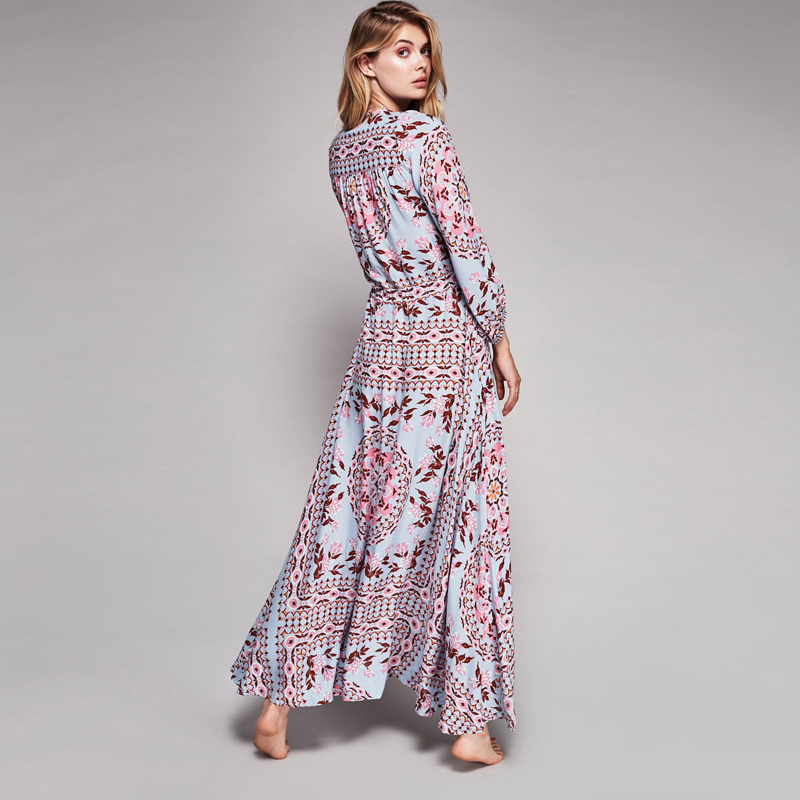 7118f064b543 women dress spring /summer 2017 long maxi dresses blue floral print cotton  sexy robe boho hippie chic vestidos brand clothing-in Dresses from Women's  ...