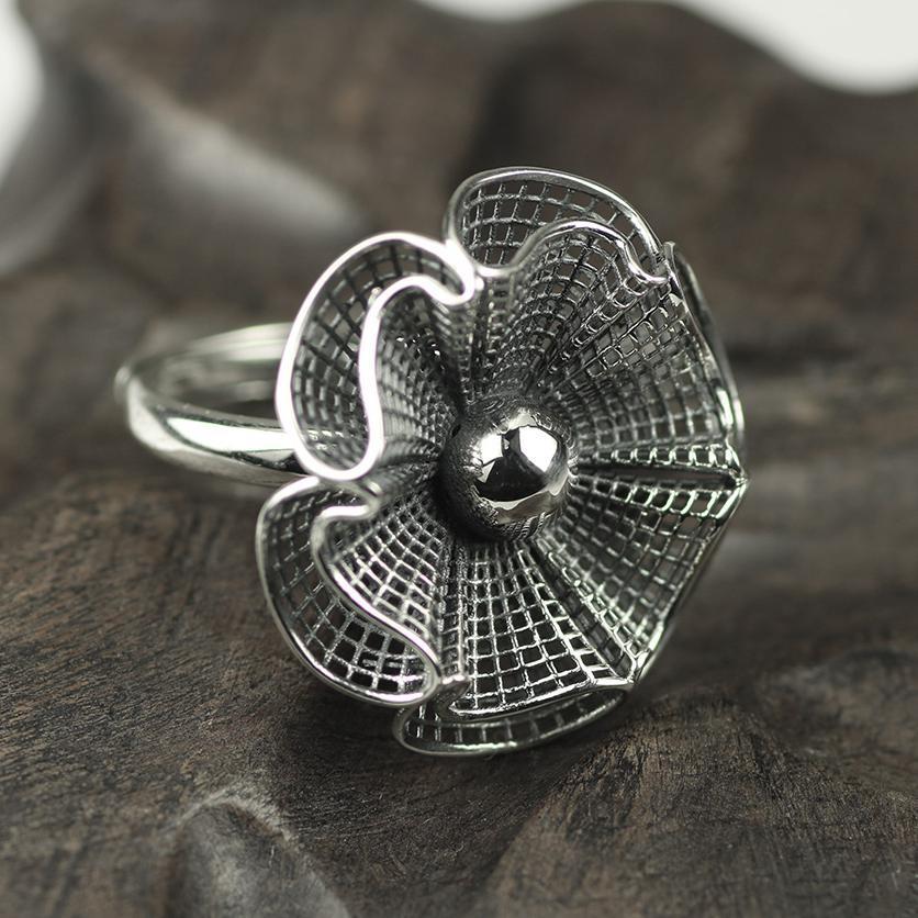 Bagues en argent Sterling 925 Design Original pour femmes en argent pur anneaux de fleurs creuses exagéré grand bijoux gothique Punk Rock