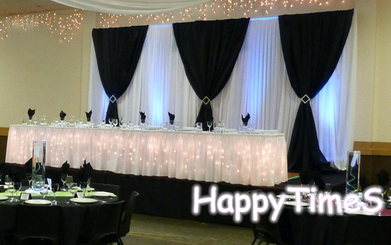 36m Wedding Background Decoration Wedding Curtain Backdrop With Black Swags And Matched