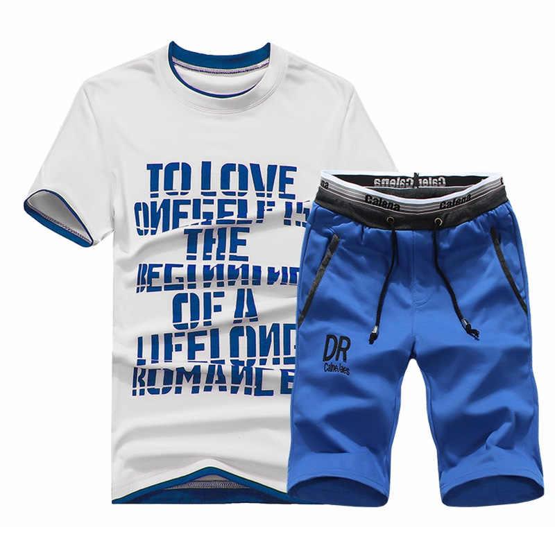 夏ショーツセット男性カジュアル生き抜くスリムフィットメンズ汗スーツ 2018 カジュアル Tシャツ + ショートパンツファッション 2 ピース男性のセット