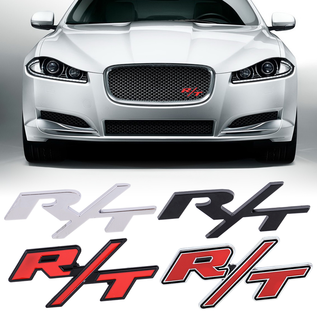 CITALL Front Grille Metal Car 3D R/T RT Logo Styling Emblem Badge Sticker with Screw Gasket Kit Fit for Chrysler Dodge Charger auto chrome camaro letters for 1968 1969 camaro emblem badge sticker