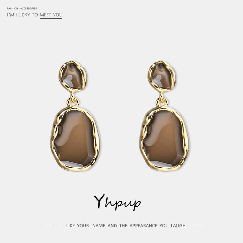 Yhpup Trendy Simple Classic Enamel Geometric Dangle Earrings Copper S925 Silver Jewelry boucle d'oreille femme 2019 for Party