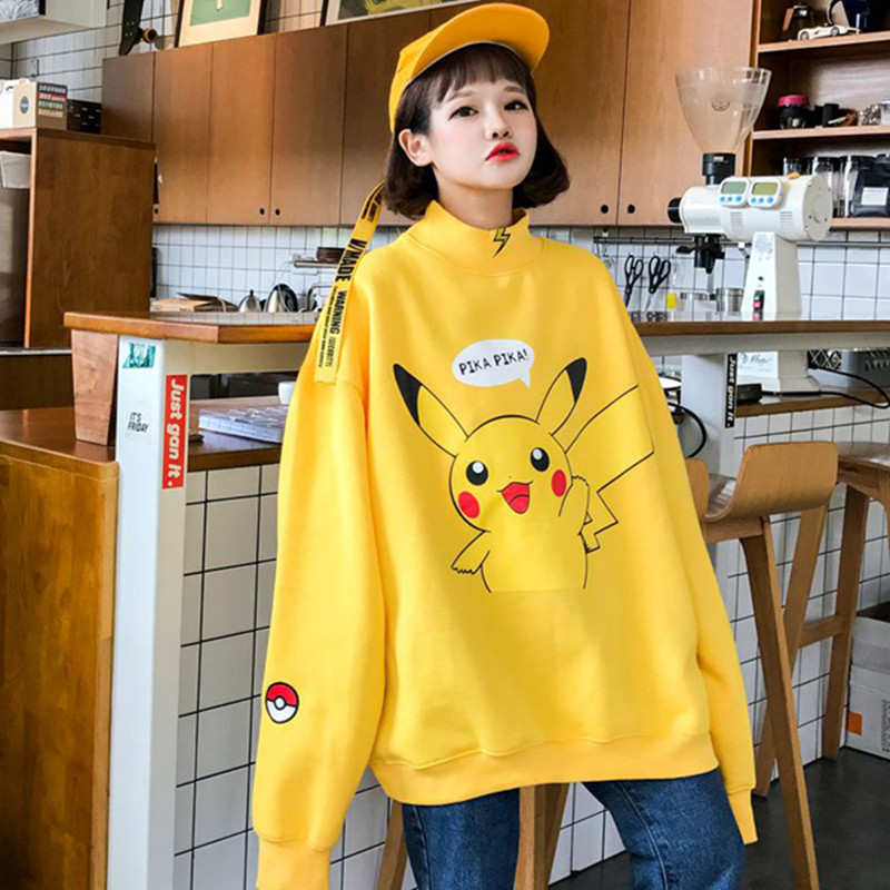 2017 nouveau Femmes Japonais Pikachu Imprimer Pull Jumper Cool Streetwear Ulzzang BF Harajuku Casual Sweat Jaune Oversize Tops