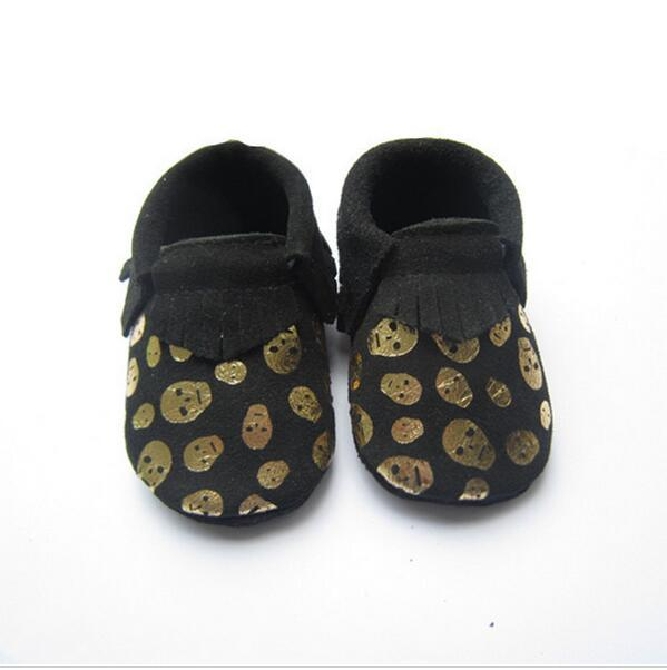 handmade halloween Black Skull Genuine Leather Baby Moccasins  Baby Girls Boys Shoes Newborn First Walkers  Bebe Shoes best gift