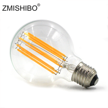LEDIARY AC220V G80 E27 Edison LED żarówki 10 w D80mm * H120mm globalnego światła Ball Light na żyrandol szkło bezbarwne lampa wisząca