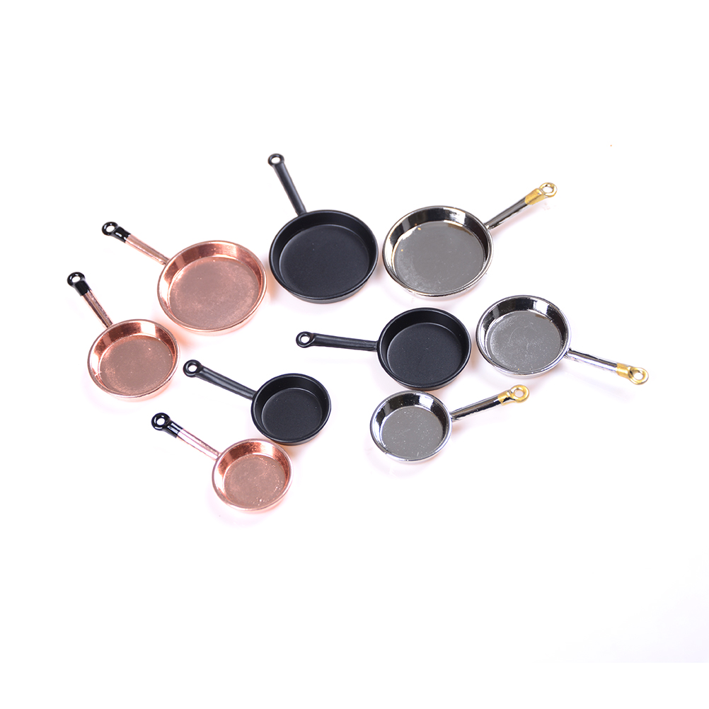 3pcs 1/12 Scale Dollhouse Miniature Metal Frypan Frying Pans Cooking Pot Cookware Kitchen Accessory