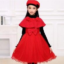Осень и зима новых девушек лук платье с большой дети шаль из трех частей костюм Новый Год красное платье принцессы