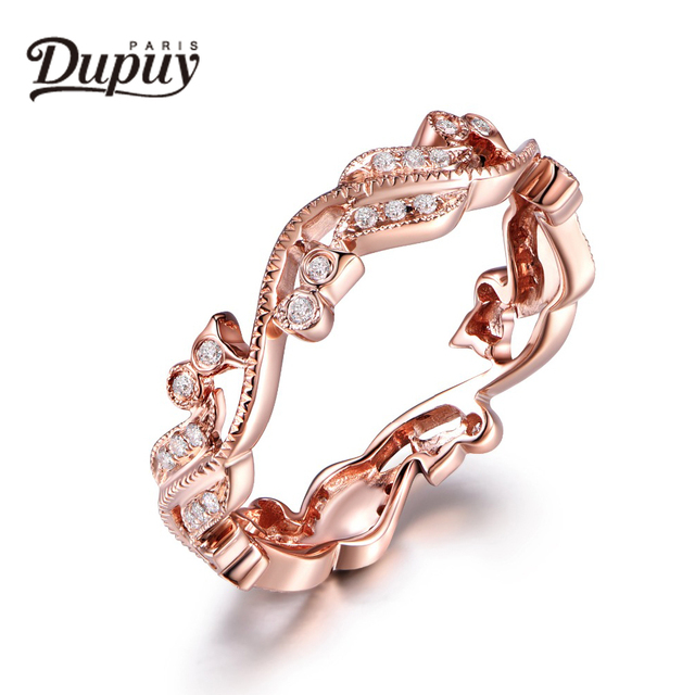 DUPUY Antique Wedding Band Full Eternity Pave Diamonds Ring Stackable Match Ring 14K Rose Gold Ring Match Band Promise Ring