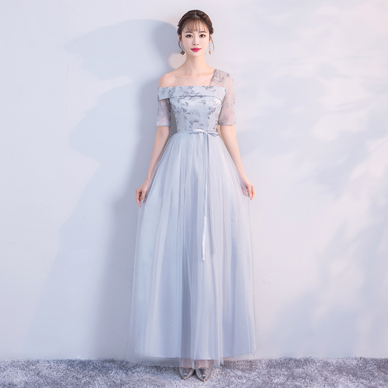 Grey Colour Wedding Guest Dress  Bridesmaid Dress  One Shoulder  Embroidery  Sexy Dress