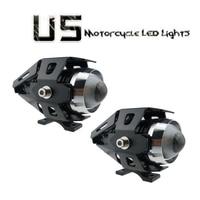 2pcs 125W U5 Motorcycle Bike LED Headlight Driving Fog Spot Light Lamp Motorbike Headlight 3000LM Spotlights Bulb Black