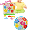 Happy Cherry Pre School Fun Toys Children Boys Girls  Early Childhood DIY Educational Kids Toys Wooden Jigsaw Geometry Awareness