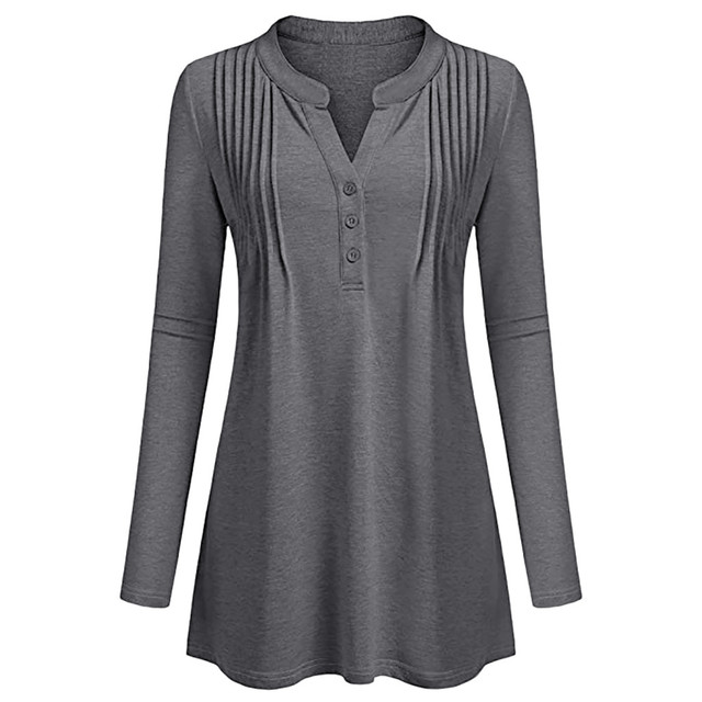 f5a16f66baee7c Solid V Neck Henley Shirts Women Long Sleeve Casual Flowy Work Tunic Blouses  Plus Size Loose Casual Tops Shirts Women Blusas /PT-in Blouses & Shirts  from ...