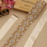 MissRDress Luxury Wedding Belt Gold Crystal Bridal Belt Rhinestones Pearls Wedding Sash For Bridal Bridesmaid Long Dresses JK812