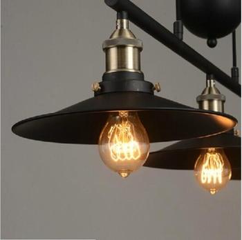 Wrought Iron Lamp | Loft Vintage Adjustable Pulley Pendant Lamps Kitchen Hanging Lamp LED Hanglamp Retro Industrial Wrought Iron Light Lamps Fixture