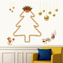 2017 Christmas Tree Navidad New Year Party Decoration Deer Gift Wall Stickers Decal Store Shop Window