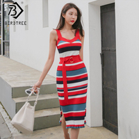 Women Sexy Striped Chinese Style Dress Sleeveless Elegance High Waist Long Dress Summer V Neck Slim 2 Piece Set Dress S91003R