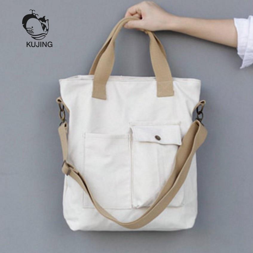 KUJIN Fashion Handbag Hot Art Youth Canvas Bag Large Capacity Women Shoulder Messenger Bag Quality Solid Color Leisure Women Bag
