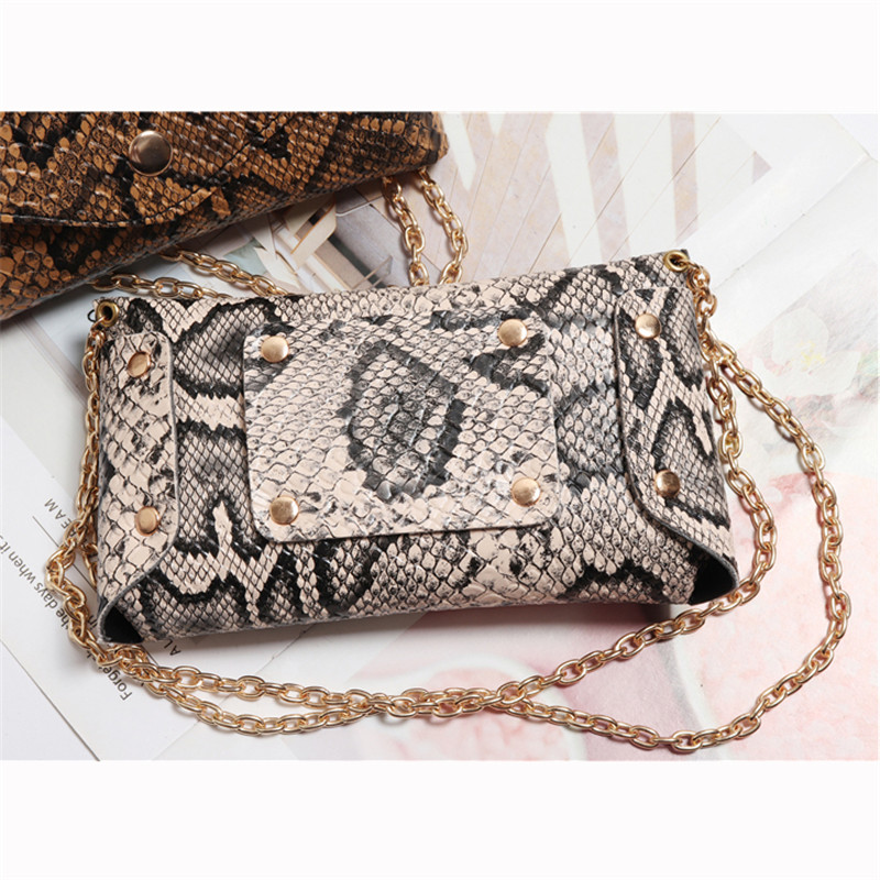 Mihaivina Luxury Serpentine Fanny Pack Women Leather Chain Waist Bag on Belt Fashion Small Phone Pouch Bum Bag Waist Pack heupta