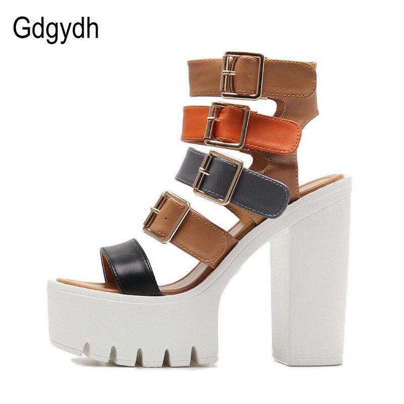 Gdgydh Women Sandals High Heels 2019 Ny Sommar Mode Buckle Kvinnlig - Damskor - Foto 2
