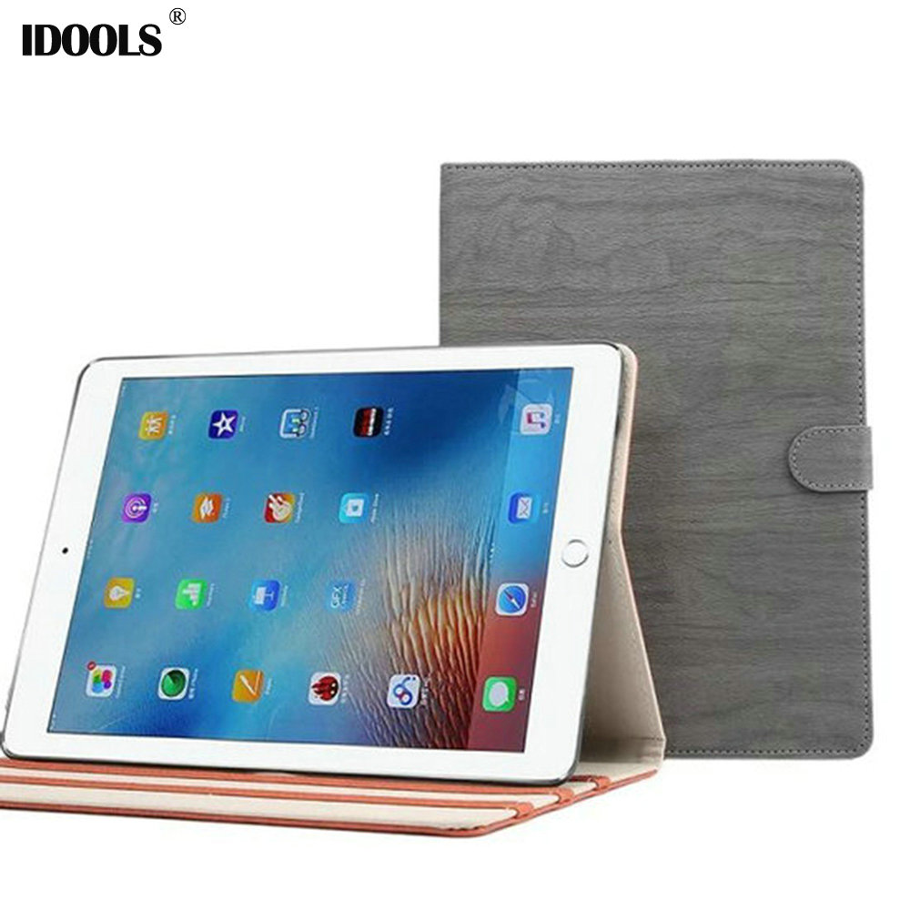 For iPad Pro 9.7 Case Wooden Pattern Leather Tablet Accessories Covers Cases for iPad Pro 9.7 Inch IDOOLS With Stand Function