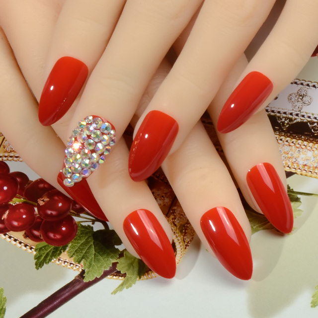 Ab Rhinestone Bling Nail Art False Red Pointed Fake Stiletto Nails Full Cover Finished Free