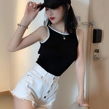 Womens Sleeveless O-Neck Camis Summer Black Backless Women Tank Top Sexy Camisole