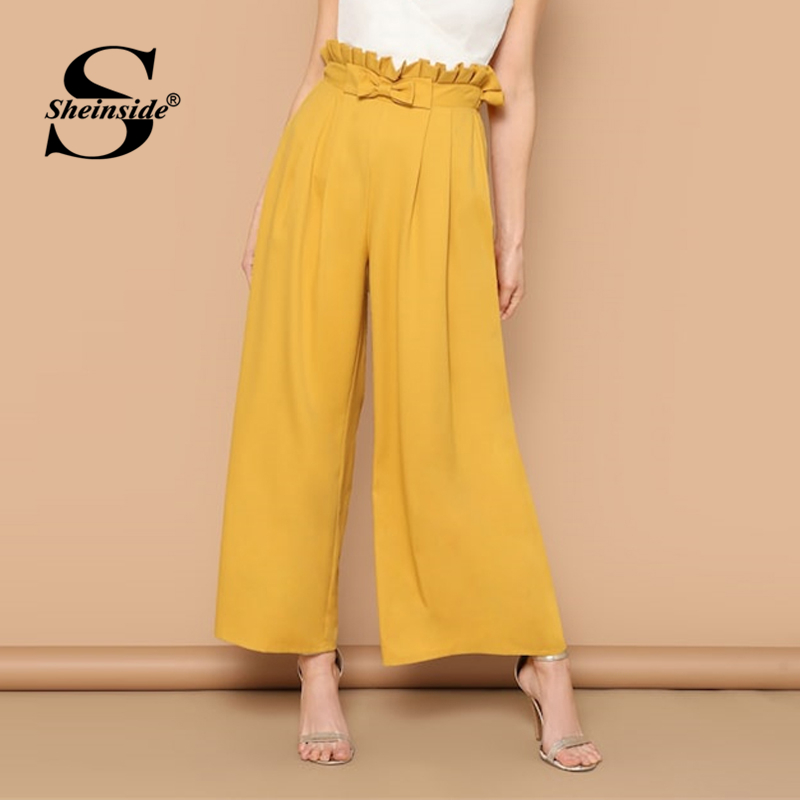 Sheinside Elegant Paperbag Waist Wide Leg Pants Women 2019 Spring Bow High Waist Pleated Pants Office Ladies Workwear Trousers