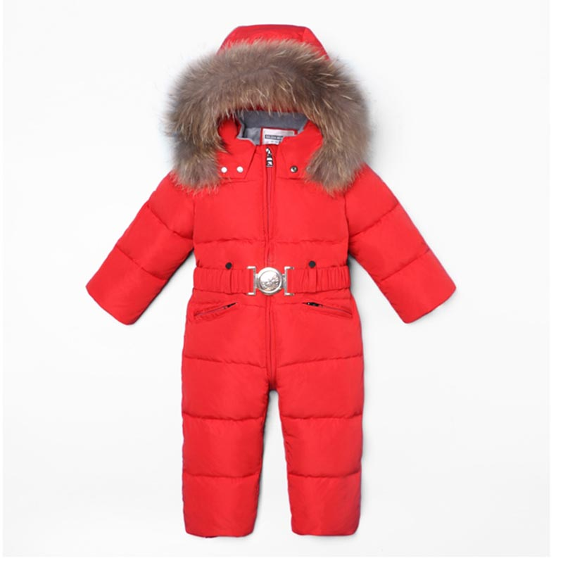Baby Jumpsuits Boy Girl Winter Overalls Rompers Duck Down Clothing Parka Real Fur Children Outerwear Coats Jacket Kids Snowsuit