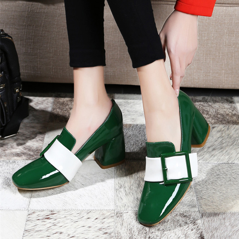 ФОТО 2016 summer new patent leather thick chunky high heels square toe shoes with square buckle shoes women closed toe designer shoes