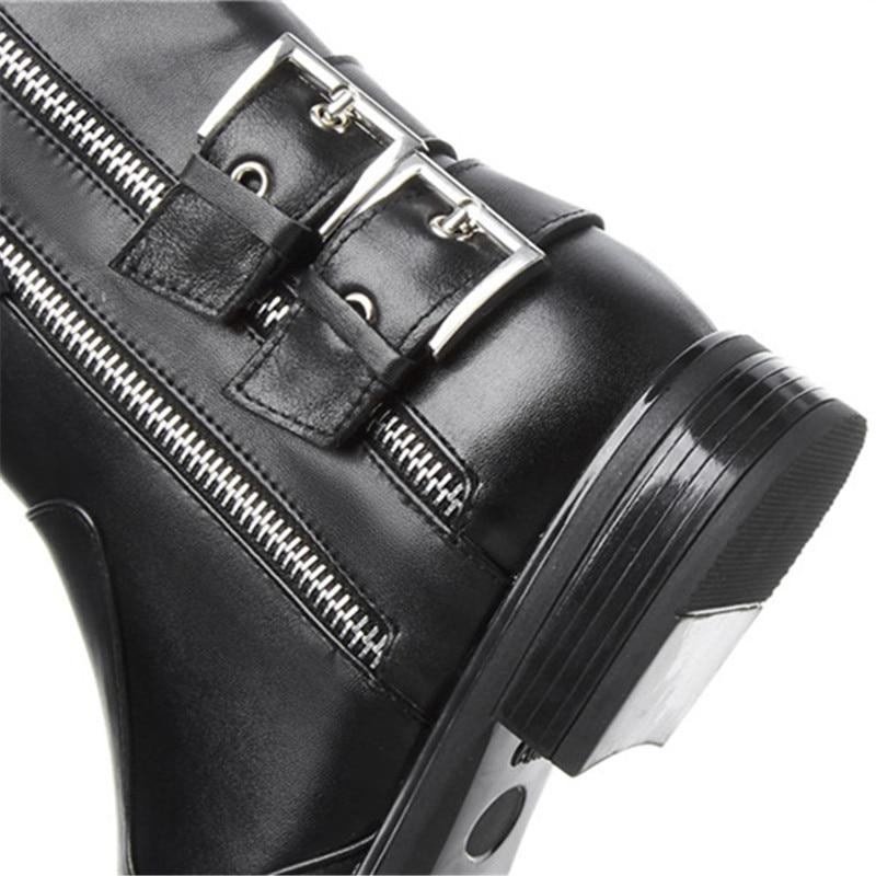 black Not Pour Dames Bottes Carrés 2018 Black Véritable En Morazora With Fur Femmes Fur Cheville Qualité Hiver Carré Top Orteil Automne Chaussures Punk Cuir Talons UgqfUx8Bw
