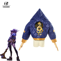 ROLECOS Game LOL Cosplay Costumes Group K/DA Akali Winter Coat Jacket Cosplay Costume Group KDA Akali for Women Cosplay Costumes