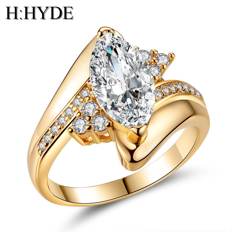 H:HYDE Luxury Full Crystal Oval Stone AAA Cubic Zirconia Ring For Women Micro Inlay Zircon Weding Rings Size 5-10 bague femme
