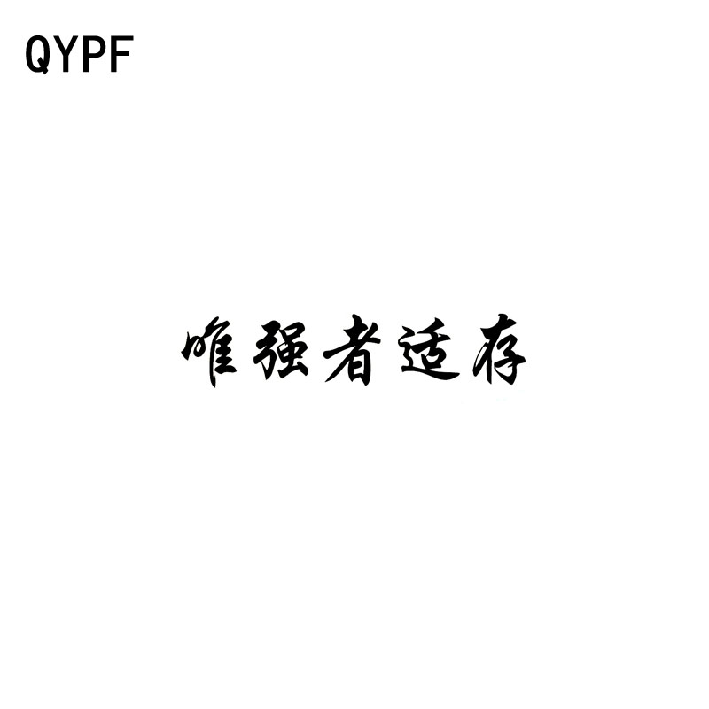 QYPF 15CM*3.2CM Fashion Chinese Kanji Only The Strong Survive Vinyl Car Sticker Decorate Decal Black/Silver C15-0180