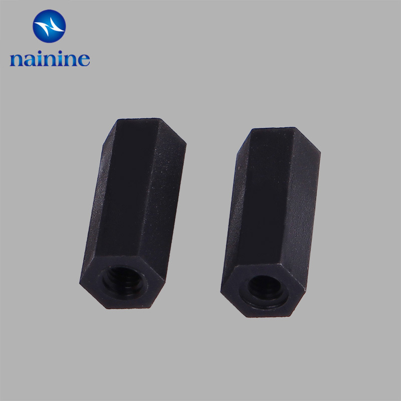 50Pcs M2 M2.5 M3 M4 Black Spacing Screws Hex Nylon Standoff Spacer Column Flat Head Double Pass Nylon Plastic NL24 100pcs m3 nylon black standoff m3 5 6 8 10 12 15 18 20 25 30 35 40 6 male to female nylon spacer spacing screws
