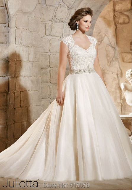 plus size wedding dresses with sleeves 2015 vintage lace covered back ball  gown wedding dresses crystal beaded 96d43887e32f