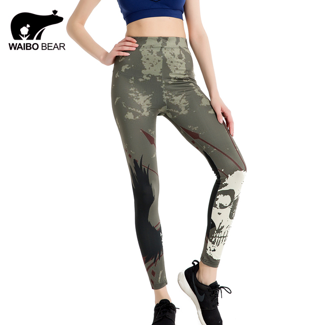 Для женщин камуфляж печати Леггинсы для женщин 3D Уход за кожей лица Фитнес узкие брюки стрейч Высокая талия карандаш брюки Push Up Повседневное legginswaibo медведь