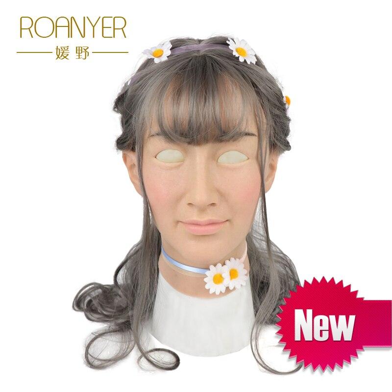 Roanyer Ria del silicone transgender trans realistico del fronte maschera cosplay delle donne veste vestito in lattice per il maschio sexy del partito forniture