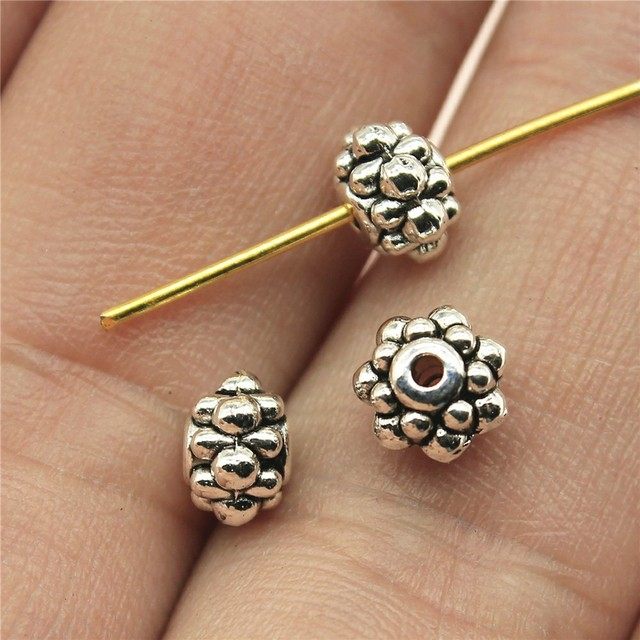 WYSIWYG 30pcs 6x6x4mm DIY Spacers Beads Charms For Jewelry Making Antique Silver Small Hole Spacers Beads Charm Spacers Beads