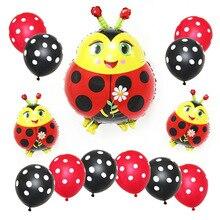 Cute Animal Bee Foil Balloons Black Yellow Polka Dots Latex Balloon Kids Birthday Party Decoration Baby Shower Supplies стоимость