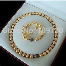Ювелирные изделия Редкие 10 мм Южное море Золотая раковина жемчужное ожерелье браслет серьги набор AAA