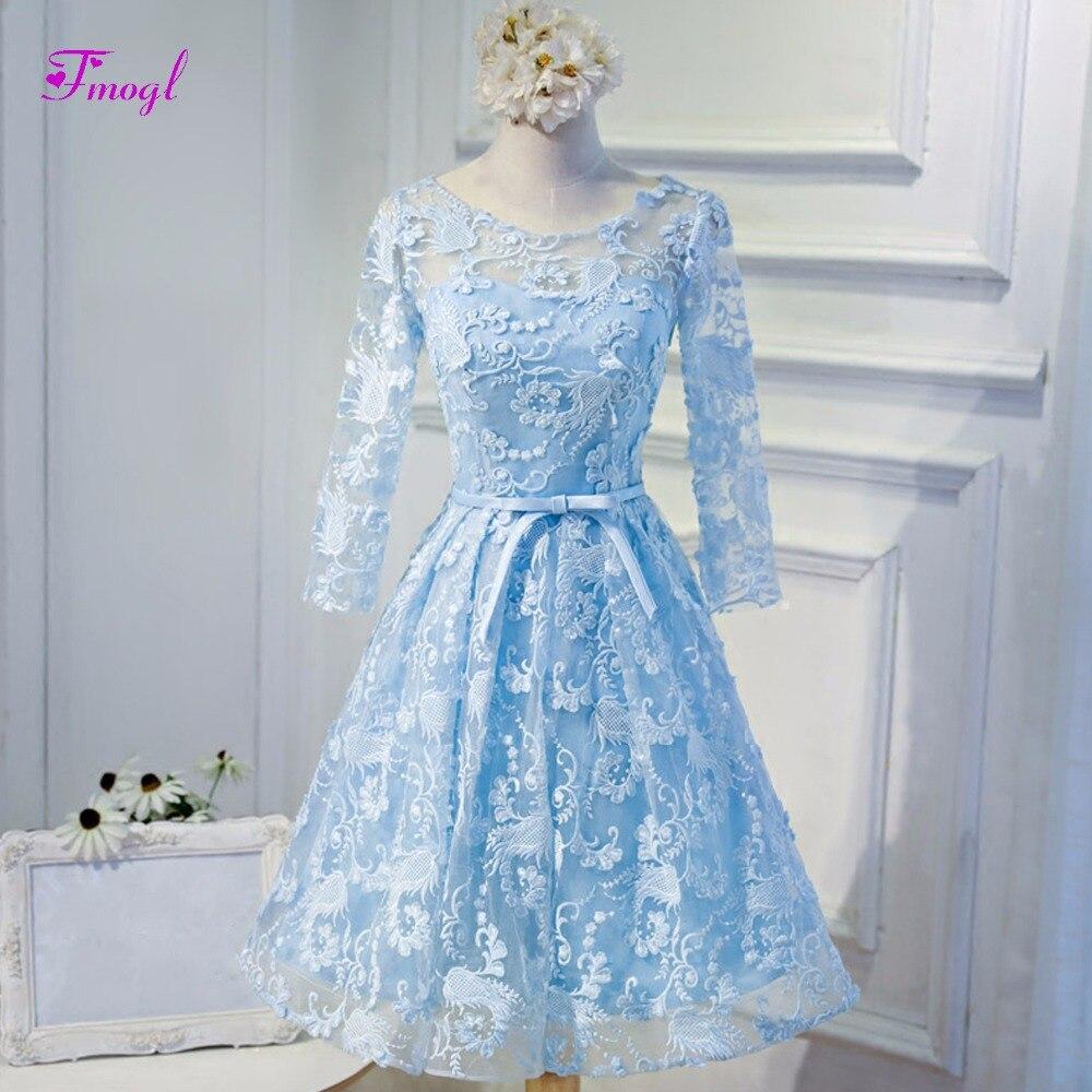 Fmogl Glamorous Scoop Neck Long Sleeves Blue Lace   Prom     Dresses   2019 Elegant Sashes Backless Formal Party Gown Vestido de Festa